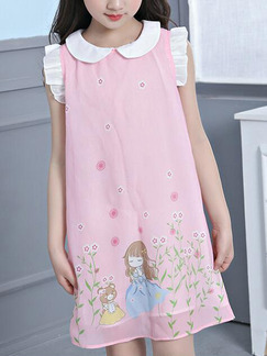 Pink Loose Laced Located Printing Shift Above Knee Girl Dress for Casual Party