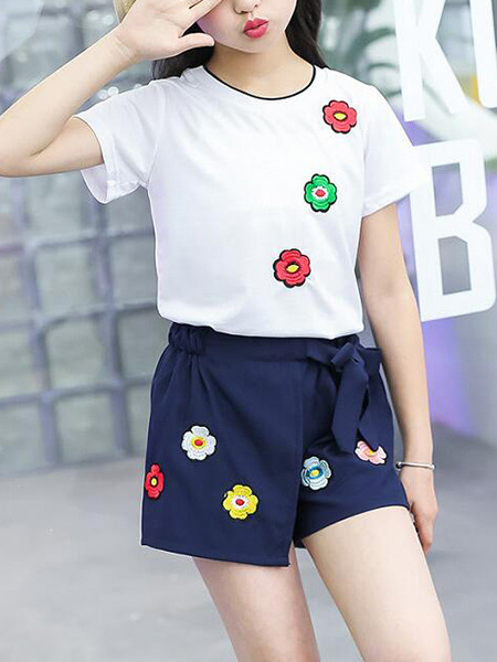 White and Navy Blue Slim Embroidery Flowers Two-Piece Girl Jumpsuit for Casual Party