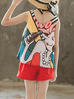 Colorful Loose Printed Two-Piece Shorts Girl Jumpsuit for Casual Party