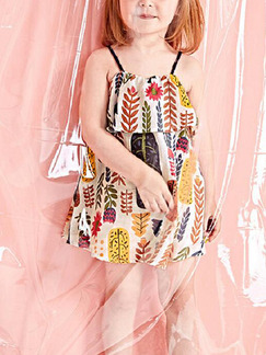 Colorful Loose Printed Above Knee Shift Slip Girl Dress for Casual Party