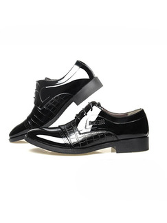 Black Patent Leather Pointed Toe Platform 3cm Embossed Strappy for Office Prom Wedding Formal