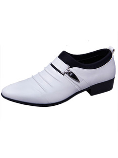 White Leather Pointed Toe Platform 3cm Contrast for Office Prom Wedding Formal