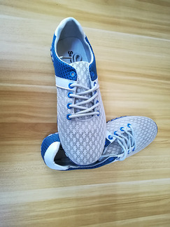 Blue and White Mesh Round Toe Platform 1cm Contrast Linking Strappy for Casual