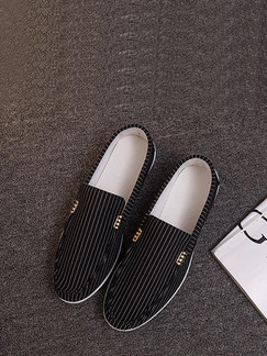 Black Polyester Round Toe Platform 1cm Stripe for Casual