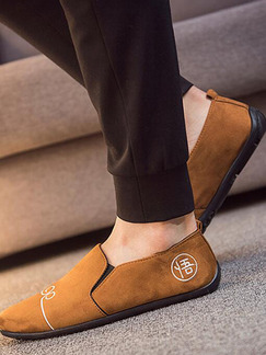 Brown Suede Round Toe Platform 0.8cm Embroidery for Casual Office