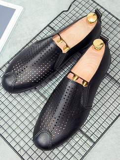 Black Leather Round Toe Platform 0.8cm Cutout for Casual Office