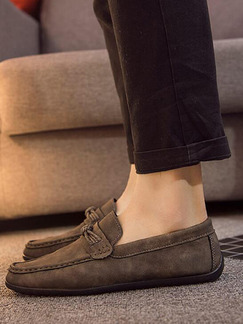Brown Suede Round Toe Platform 0.8cm for Casual Office