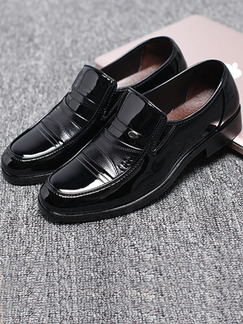 Black Patent Leather Round Toe Platform 2.5cm  for Office Prom Wedding Formal