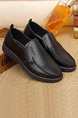 Black Leather Round Toe Platform 3cm for Office Prom Wedding Formal