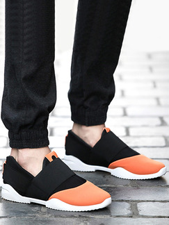 Black Orange and White Nylon Round Toe Platform 2.5cm Contrast Linking for Casual