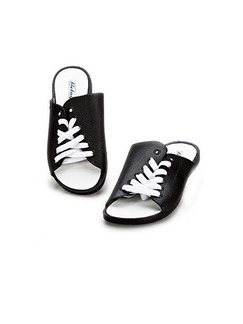 Black and White Leather Open Toe Platform 1cm Strappy Contrast for Casual