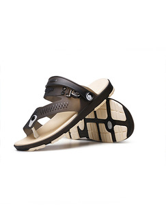 Beige and Brown PVC Open Toe Platform 2cm for Casual