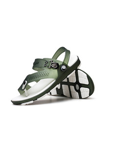 Green and White PVC Open Toe Platform 2cm for Casual