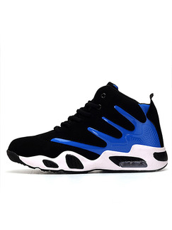 Black Blue and White Nylon and Leather Round Toe Platform Comfort Lace Up 3cm Rubber Shoes