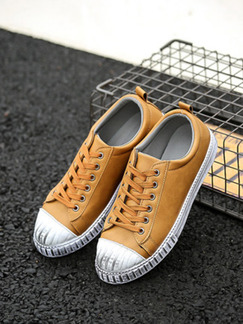 Brown and White Leather Round Toe Platform Comfort Lace Up 3cm Rubber Shoes