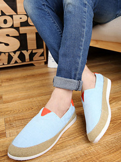 Blue Brown and Orange Canvas Round Toe Platform Comfort 3cm Loafers