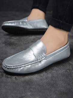 Silver Leather Round Toe Platform Comfort 1.5cm Loafers