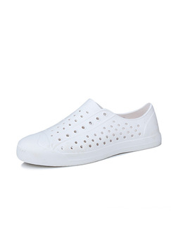 White Rubber Round Toe Platform 2cm Perforated Men Shoes