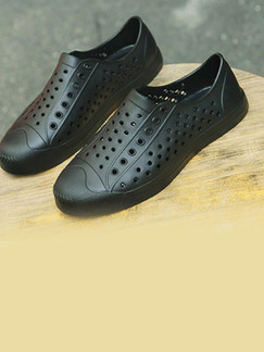 Black Rubber Round Toe Platform 2cm Perforated Men Shoes