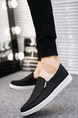 Black and White Canvas Round Toe Platform Loafer