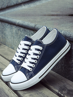 Blue and White Canvas Round Toe Platform Lace Up Rubber Shoes