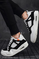 White and Black Leather Round Toe Platform Lace Up Rubber Shoes