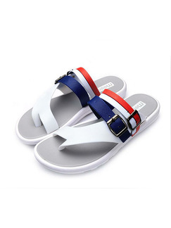 Red Blue and White Leather Open Toe Platform 2cm Sandals