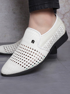 White and Black Leather Round Toe Platform Perforated Comfort 3cm Loafers