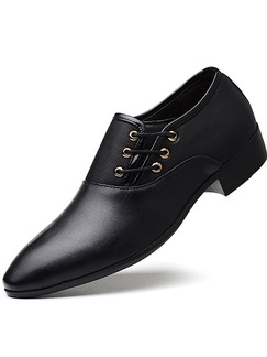 Black Leather Round Toe Platform Lace Up 3cm Oxford