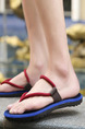 Blue and Red EVA Open Toe Platform 3cm Slippers