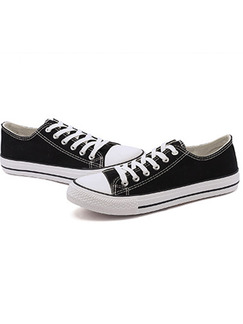 Black and White Canvas Round Toe Platform Comfort Lace Up 3cm Rubber Shoes