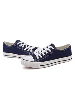 Blue and White Canvas Round Toe Platform Comfort Lace Up 3cm Rubber Shoes