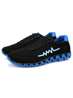 Black and Blue Polyester Round Toe Platform Comfort Lace Up 3cm Rubber Shoes