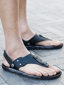 Black Leather Open Toe Platform Ankle Strap 2cm Sandals
