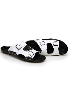 Black and White Leather Peep Toe Platform Instep Strap 2cm Sandals