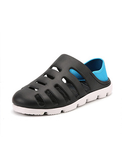 Black Blue and White EVA Round Toe Platform Comfort 2cm Sandals