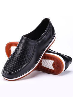 Black PVC Round Toe Platform Slip On 2cm Men Shoes