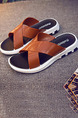 Brown and White Leather  Open Toe Platform 3cm Slippers