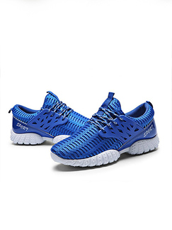 Blue and White Polyester Round Toe Platform 3cm Lace Up Rubber Shoes for Casual Sporty Sports