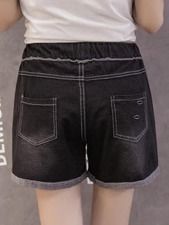 Black Denim Linking Contrast Band Belt Holes Hemming One Quarter Shorts for Casual