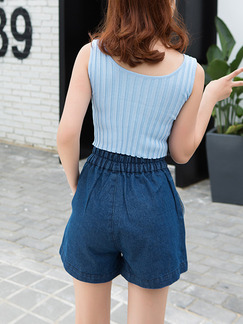 Blue Denim Adjustable Waist Wide-Leg Shorts for Casual