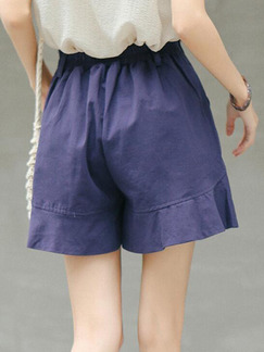 Blue Ruffle Wide-Leg Adjustable Waist One Quarter Shorts for Casual