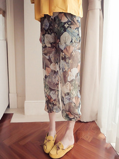 Colorful Chiffon Plus Size Printed Harlan Bind Feet Three Quarter Pants for Casual
