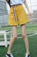 Yellow High Waist Wide-Leg One Quarter Shorts for Casual