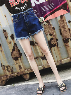 Blue Denim High Waist Holes Rough Selvedge Wide-Leg One Quarter Shorts for Casual