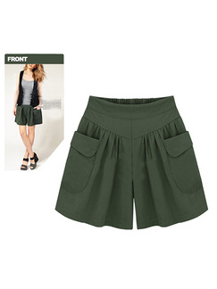 Green Plus Size Wide-Leg Adjustable Waist Symmetrical Pocket Pleated One Quarter Shorts for Casual