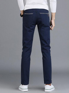 Navy Blue Plus Size Slim Tartan Linking Long Men Pants for Casual Party