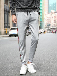 Grey Bind Feet Side Stripe Band Belt Long Men Pants for Casual