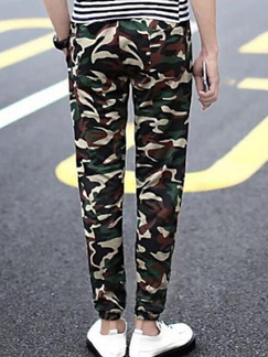 Green Black and Brown Slim Feet Camouflage Band Belt Long Men Pants for Casual