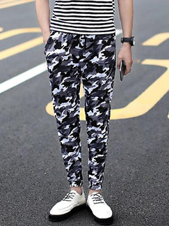 Black White and Grey Slim Feet Band Belt Camouflage Harem Long Men Pants for Casual